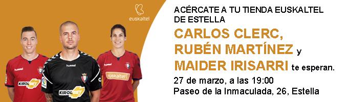 Rubén Martínez, Carlos Clerc y Maider Irisarri en la tienda Euskaltel de Estella